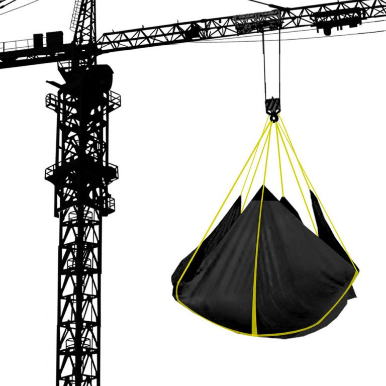 Picture of Snow Tarp hanging from a crane.