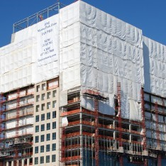White Flame Construction Tarp on Building