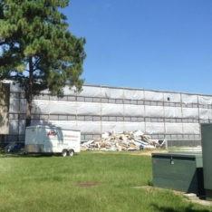 White Construction Tarp on Building